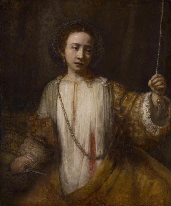 Самоубийство Лукреции. (1666 год). /2-я версия/. Автор: Рембрандт Харменс ван Рейн.